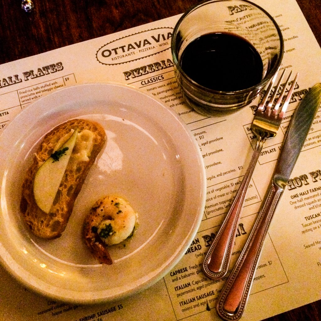 Darkhorse Cabernet Sauvignon, garlic shrimp and pecorino cheese at Ottava Via (Erin Klema/The Epicurean Traveler)