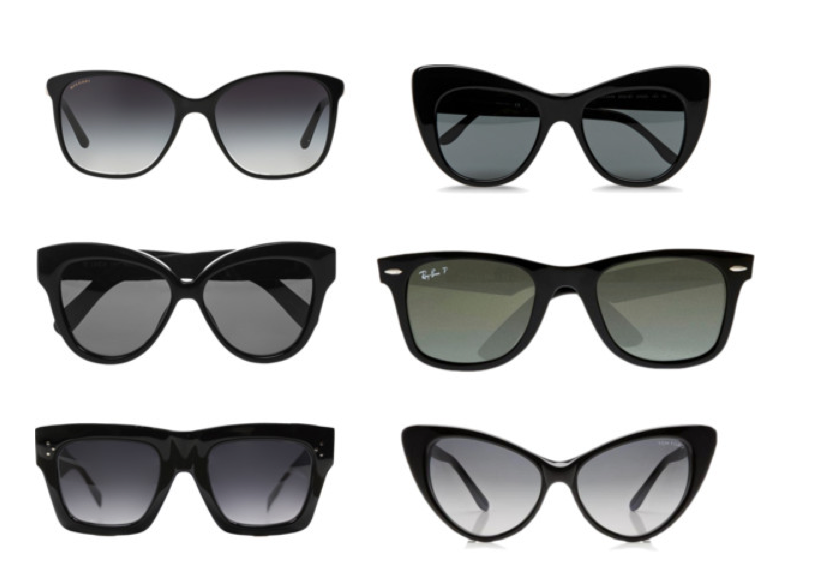Sunglasses, clockwise from top left, by BVLGARI, Stella McCartney, Ray-Ban, Tom Ford, Celine, and Linda Farrow.