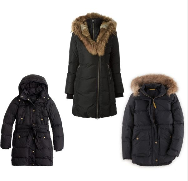 From left to right, down coats from J.Crew, Farfetch and Boden