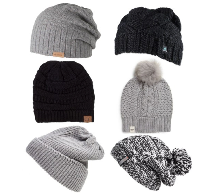 Knit beanies, clockwise from top left, by BARTS, Adidas, UGG Australia, Zella, UGG Australia, and Akira.