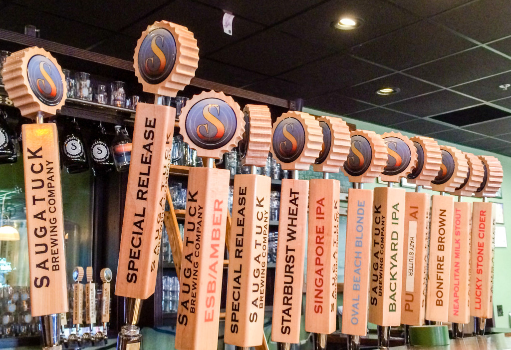 Beer tap handles at Saugatuck Brewing Company in Saugatuck, Michigan.