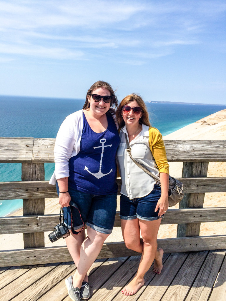 Danny, right, and I at a scenic overlook at Sleeping Bear Dunes National Lakeshore after a huge brunch at Hofbrau Interlochen.