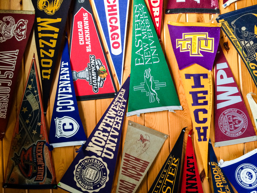Pennants adorn the ceiling of Art's Tavern in Glen Arbor, Mich. (Erin Klema/The Epicurean Traveler)