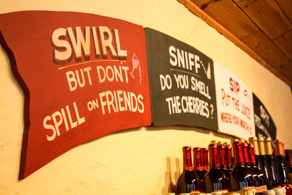 Wine tasting at Cherry Republic. Don't spill! (Erin Klema/The Epicurean Traveler)
