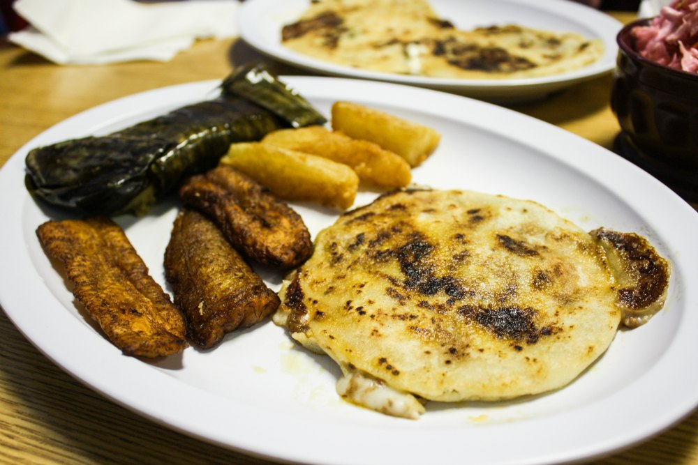 Tasty tamale, plantains, yuca frita, and pupusas at Pupuseria El Salvador | The Epicurean Traveler