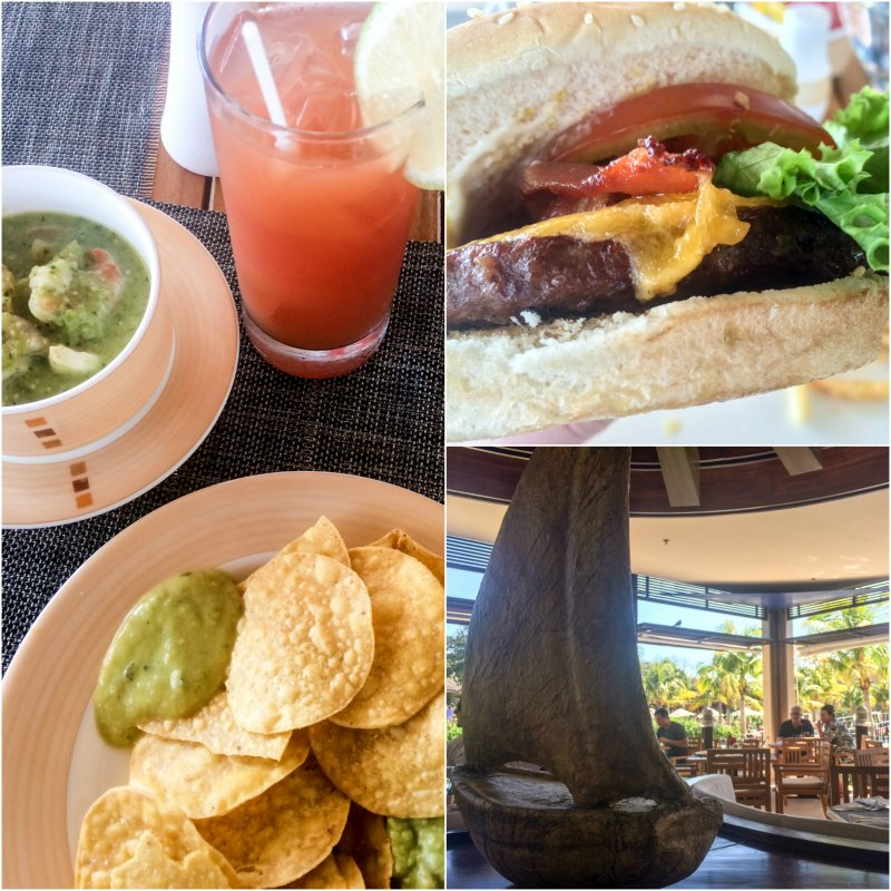 Burger and ceviche at Seaside Grill at Dreams Las Mareas Costa Rica