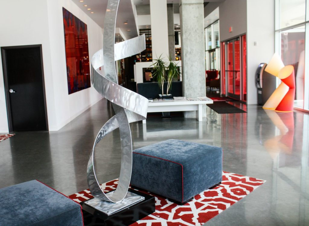 The HotelRED lobby is decorated with modern art and furnishings. (Erin Klema/The Epicurean Traveler)