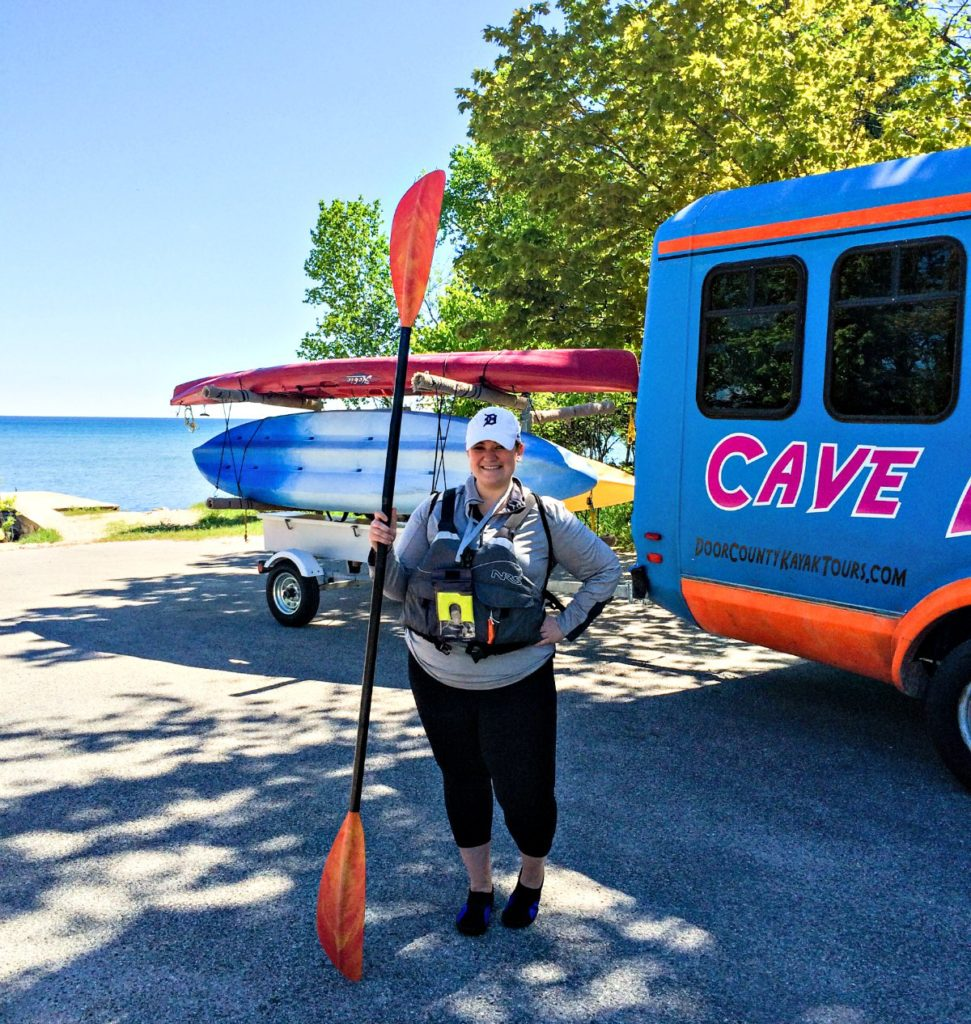 Kayaker sporting gear before Door County Kayak Tours' cave tour
