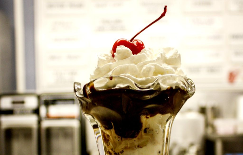 This chocolate-chip cookie dough ice cream sundae is topped with hot fudge, whipped cream, and a cherry at Door County Ice Cream Factory in Sister Bay, Wis. (Erin Klema/The Epicurean Traveler)