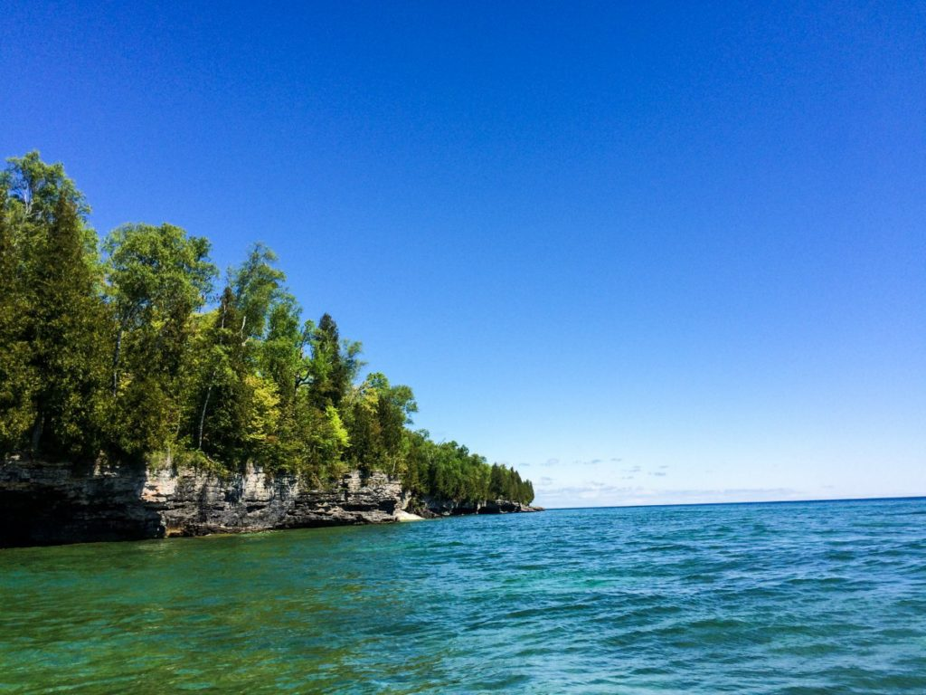 Bluffs along the Lake Michigan shoreline in Door County, Wisconsin