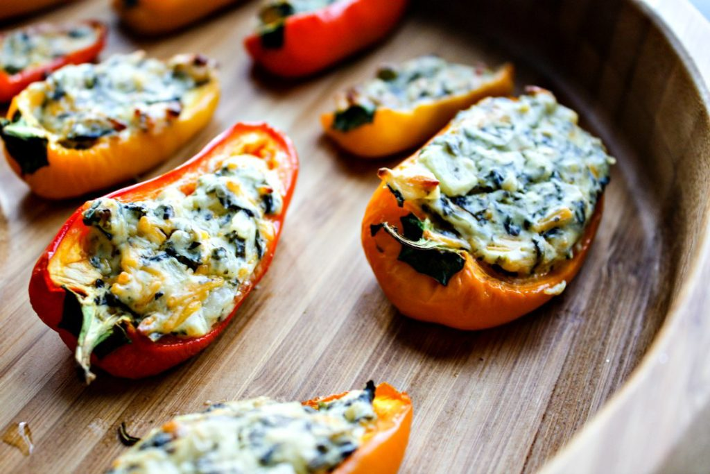 Mini sweet peppers stuffed with La Terra Fina Spinach and Kale dip