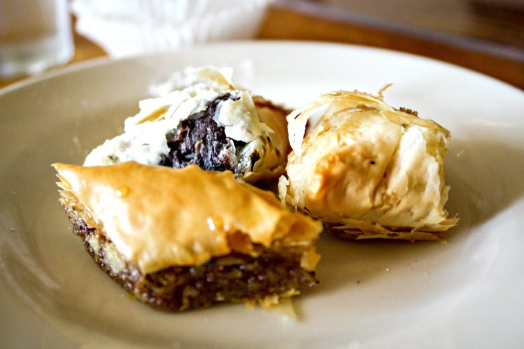 What a trio! Baklava, Lemon Cream Boughatsa (TM), and Chocolate Hazelnut Boughatsa (TM) are just heavenly. (Erin Klema/The Epicurean Traveler)
