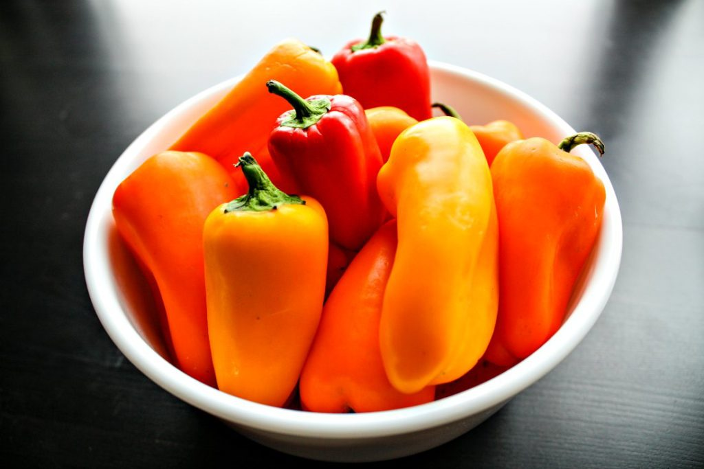 Bowl of mini sweet peppers