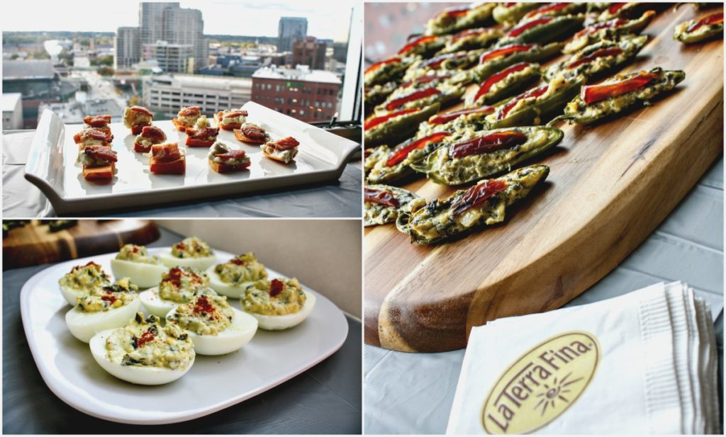 Clockwise from top left: Spicy sweet potato bites, stuffed jalapeños, and deviled eggs -- all made with a La Terra Fina dip. (Erin Klema/The Epicurean Traveler)