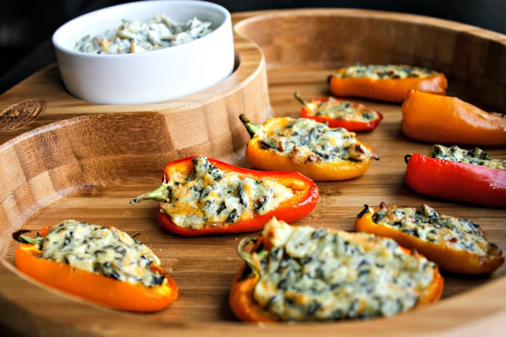 La Terra Fina Spinach and Kale Dip Stuffed Sweet Peppers