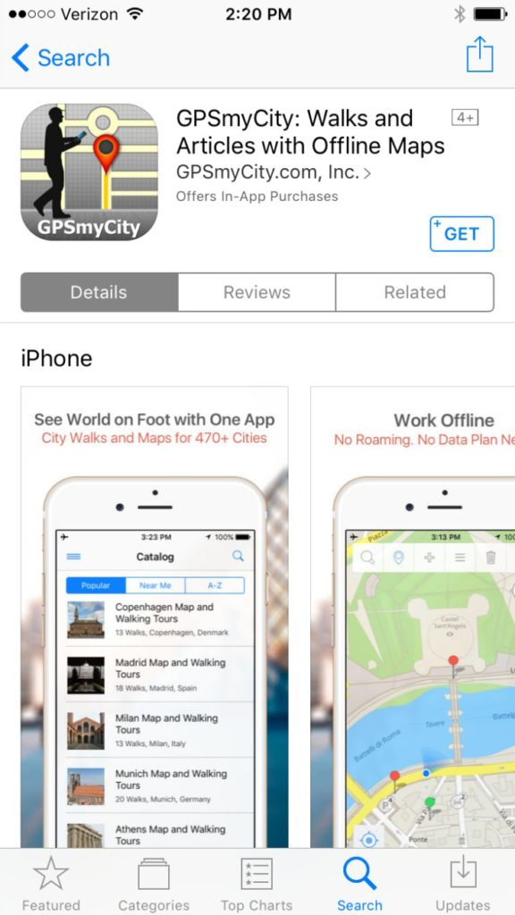 Find GPSmyCity in the App Store for iOS devices including iPhones and iPads today!