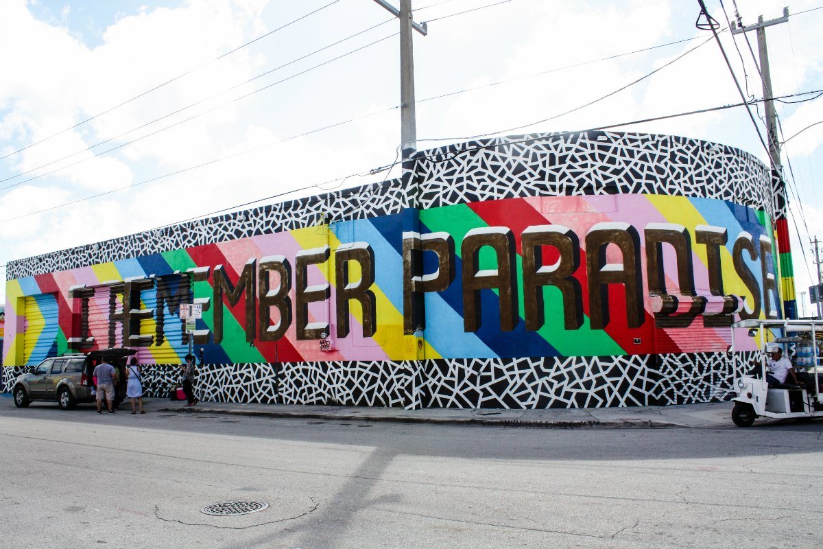 "London-based graphic artist Lakwena's mural states ""I remember paradise"" in the Wynwood Arts District of Miami. 