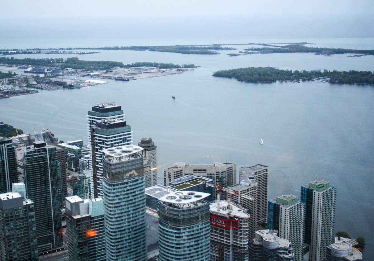 View of Toronto from 360 Restaurant at the CN Tower, Toronto, Canada