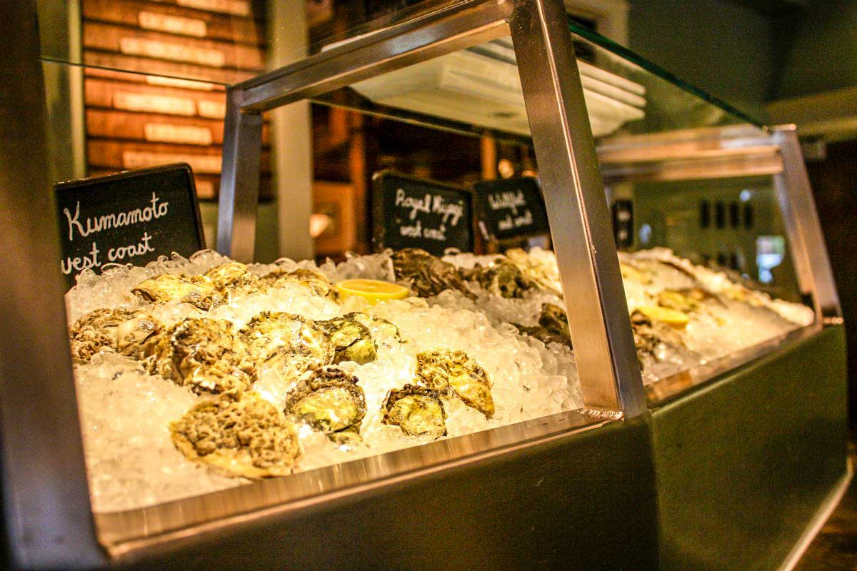 Oyster bar at Spruce Farm & Fish at the Hotel Boulderado in Boulder, Colorado, USA