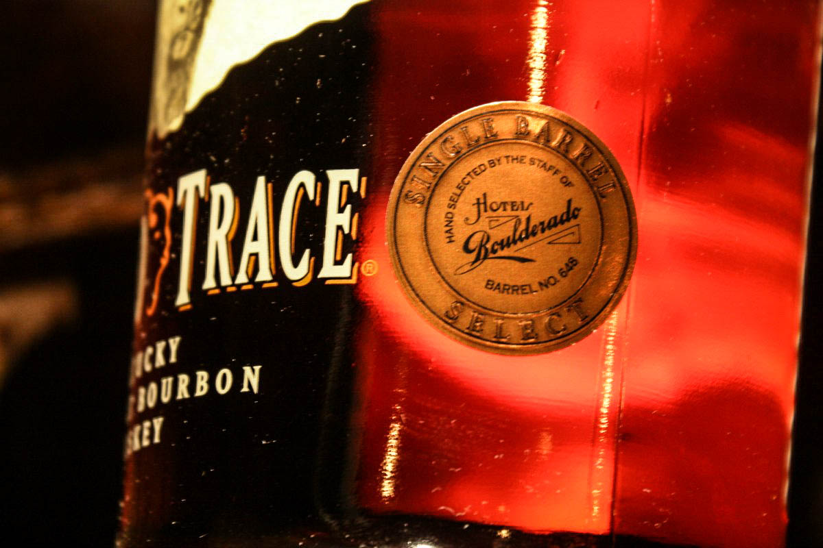 Buffalo Trace Kentucky bourbon creaded by Hotel Boulderado staff available at License No. 1 in Boulder, Colorado, USA