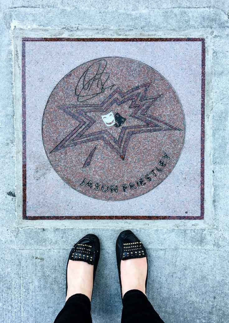 """Bevery Hills, 90210"" star Jason Priestley's maple-leaf marker along Canada's Walk of Fame in Toronto, Ontario, Canada."