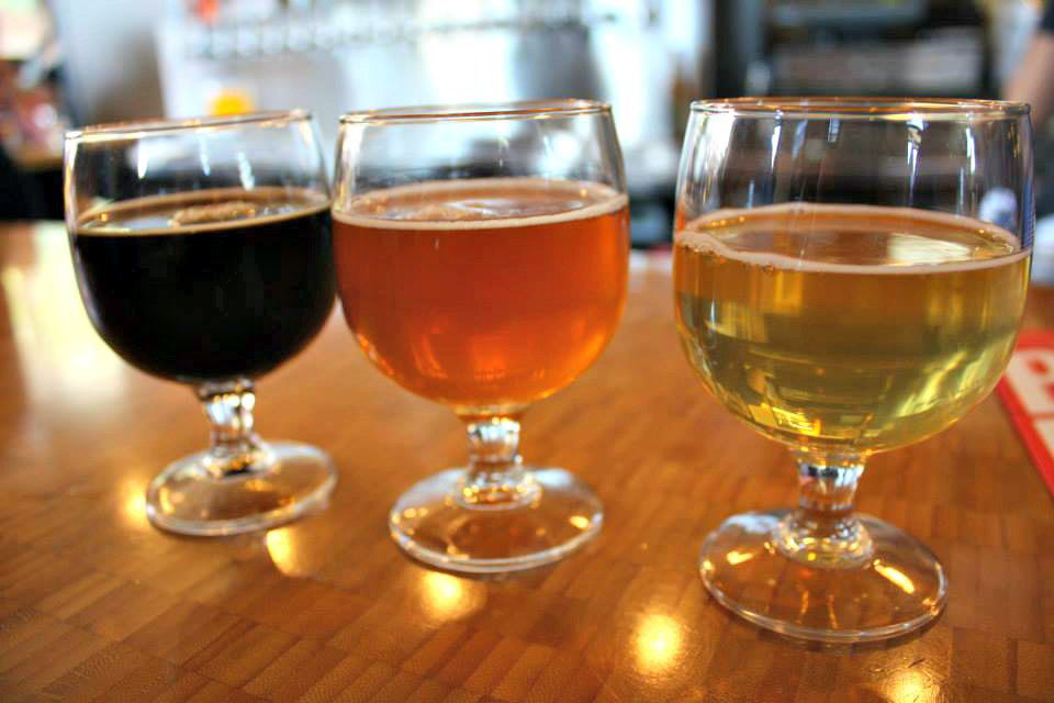 A trio of beer samples at Great Divide Brewing Company in Denver, Colorado.