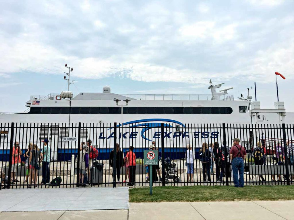 Passengers wait to board the Lake Express high-speed ferry in Milwaukee.