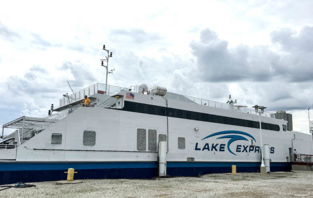 The Lake Express high-speed ferry is docked in Milwaukee.