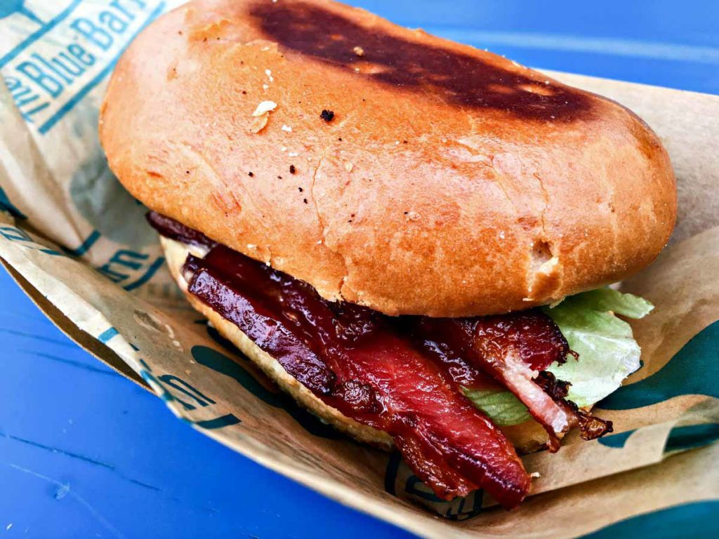 Candied bacon BLT sandwich from The Blue Barn at the Minnesota State Fair