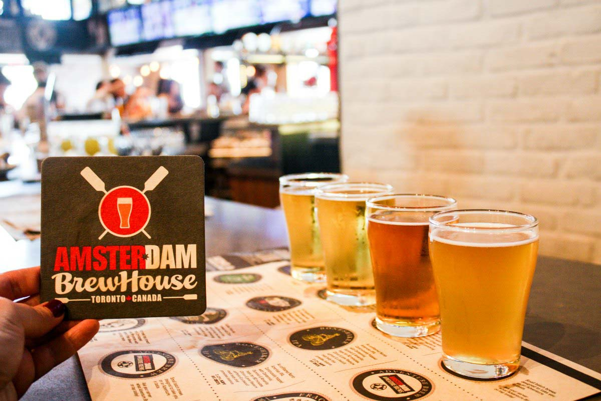 In Toronto, drink a local craft beer flight at Amsterdam Brew House.
