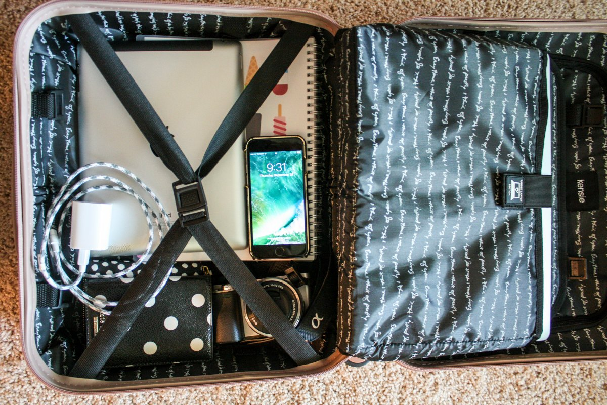 """Kensie 17"""" hardside briefcase holds all my work and travel essentials for a business trip."""