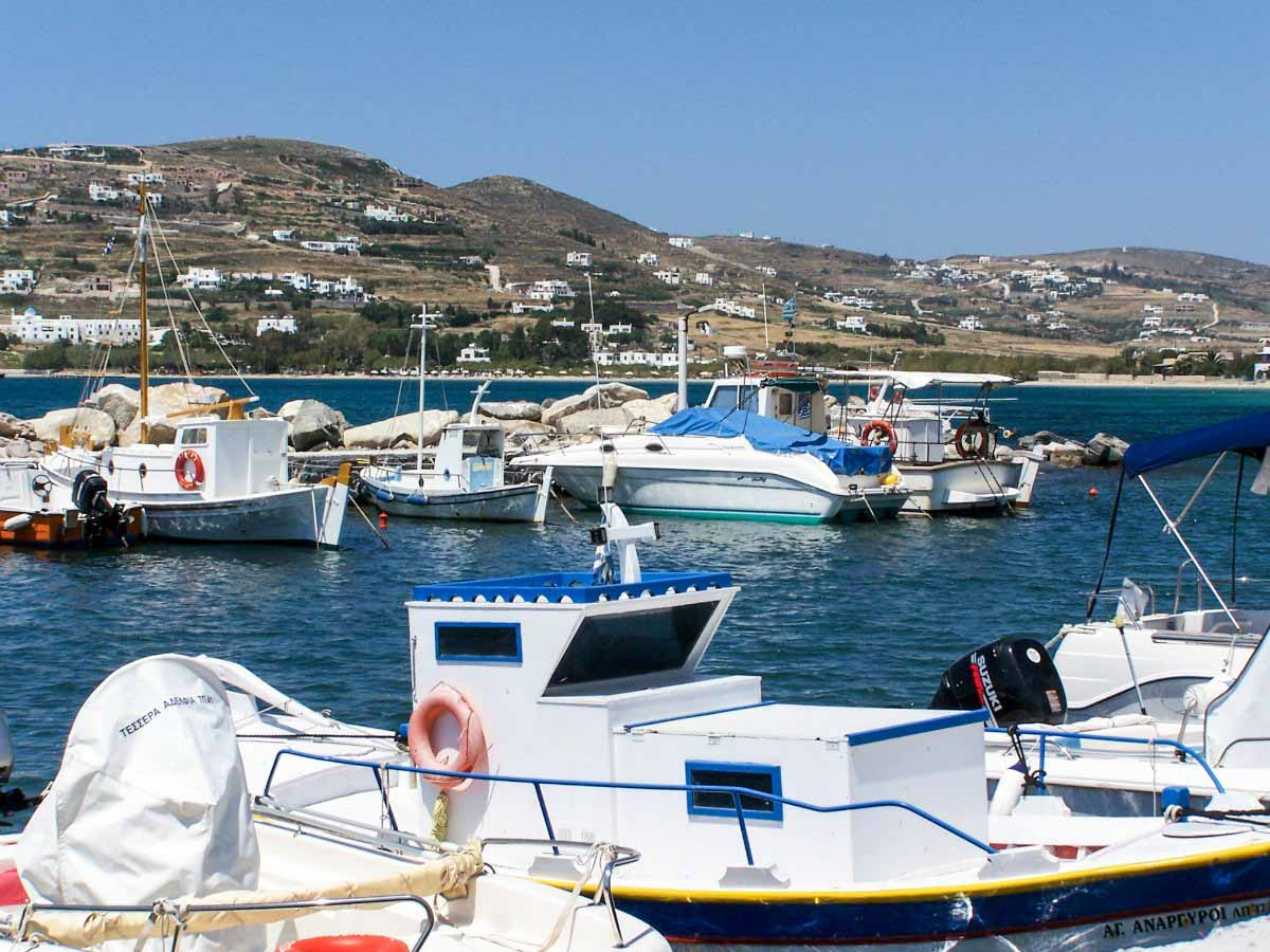 Greek fishing boats docked in the Aegean Sea - Paros, Greece