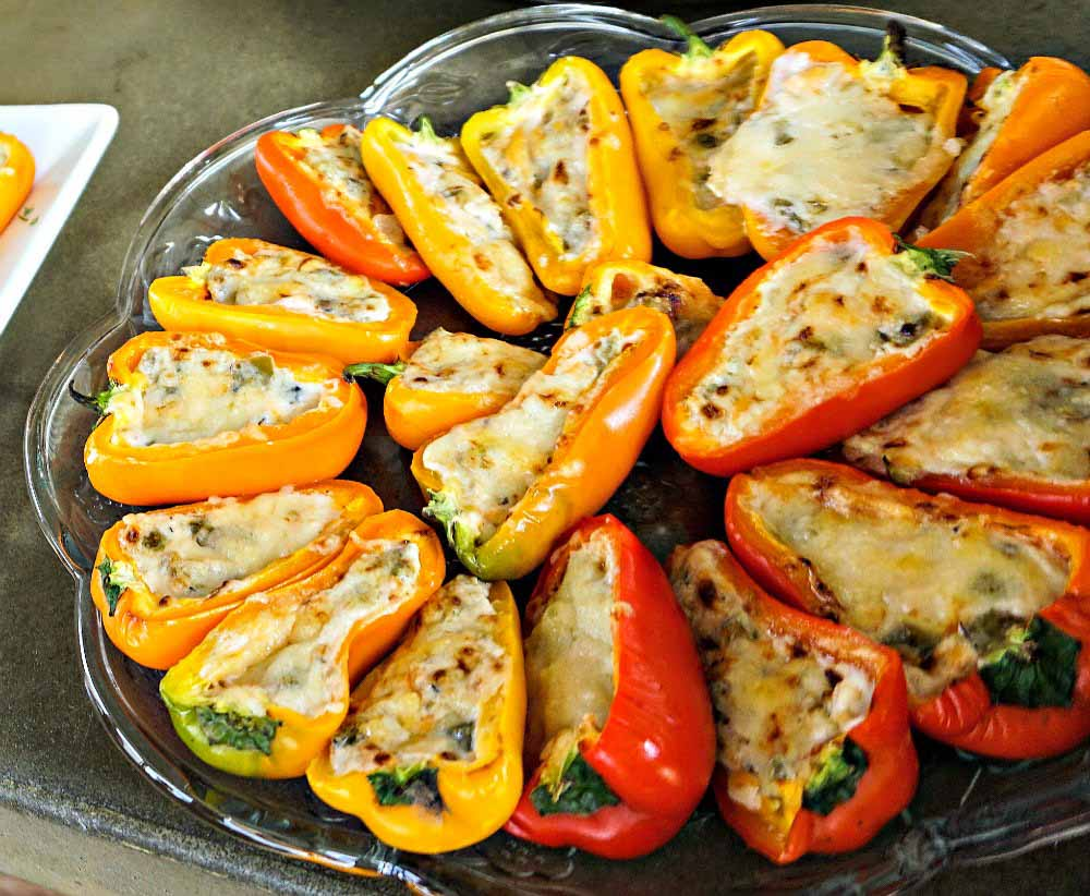 Mini peppers stuffed with La Terra Fina dips