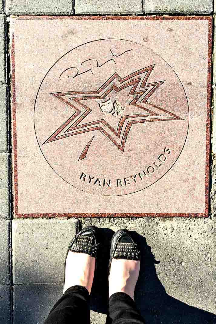 Along Canada's Walk of Fame in Toronto, you'll find stars for famous Canadians such as actor Ryan Reynolds.