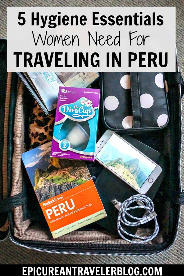 Did you know many toilets in Peru don't have seats? This post shares all you need to know for navigating public restrooms in Peru plus the five hygiene essentials you should pack for your trip as a female traveler. #ad #PeriodConfidence #TryTheDivaCup