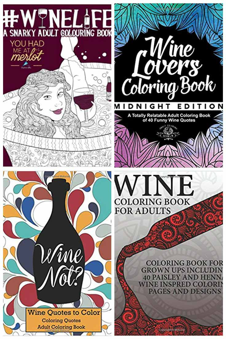 Wine-themed adult coloring books