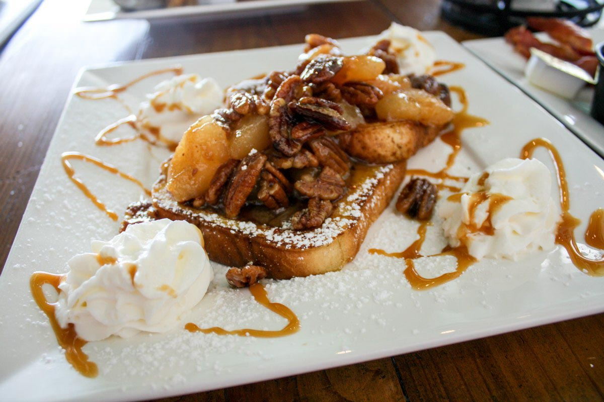 Pear & Pecan Cinnamon French Toast at The Southern Grind in Orange Beach, Alabama