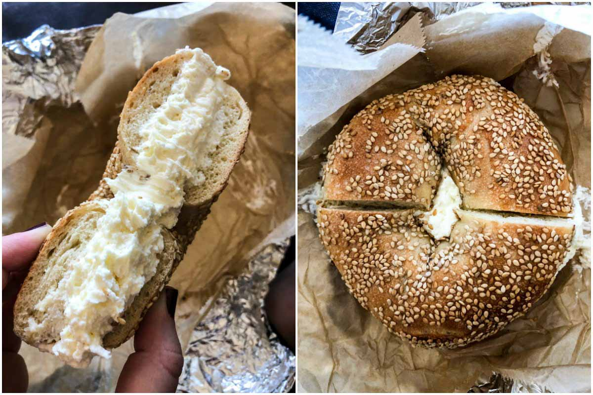 Sesame bagel with cream cheese from Brooklyn Bagel & Coffee