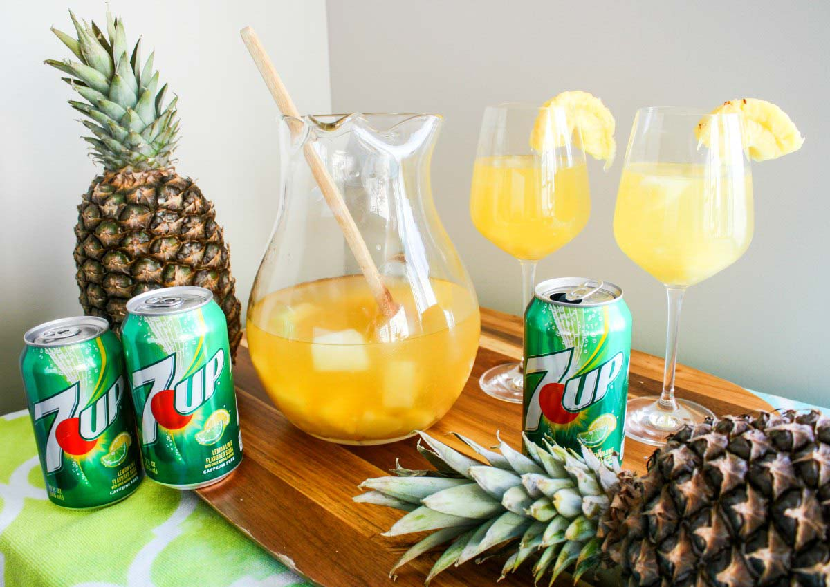Tropical Pina White Sangria featuring 7UP