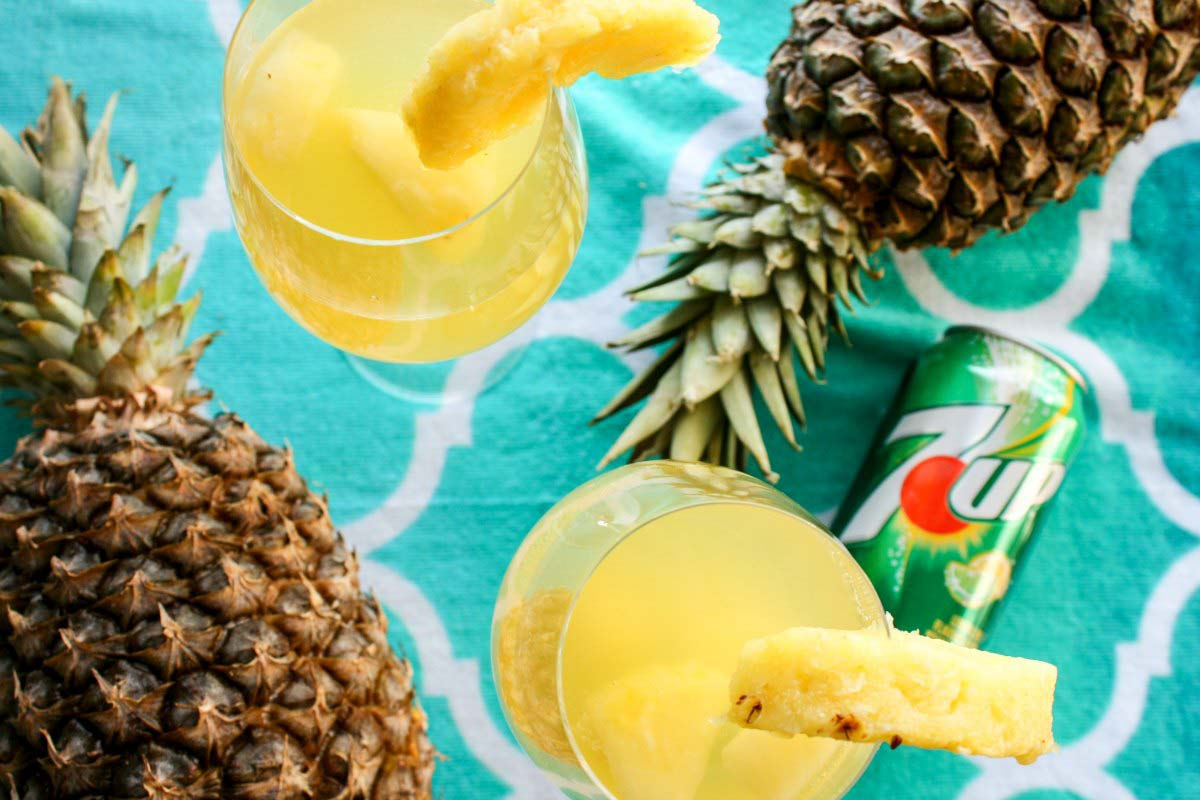 Tropical Pina White Sangria with 7UP