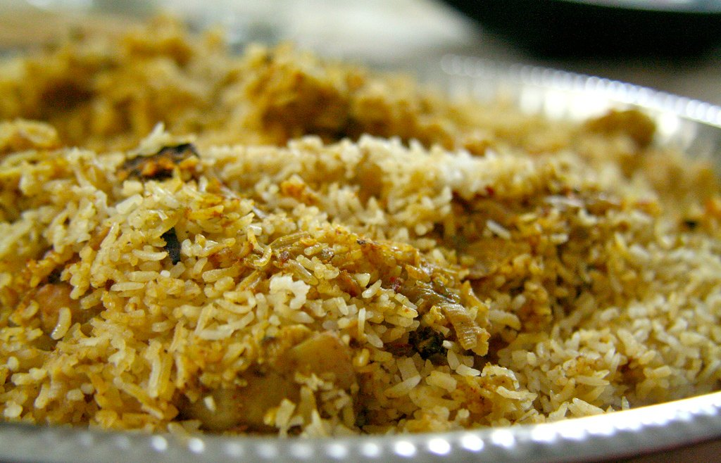Biryani, a spicy rice dish popular in Pakistan