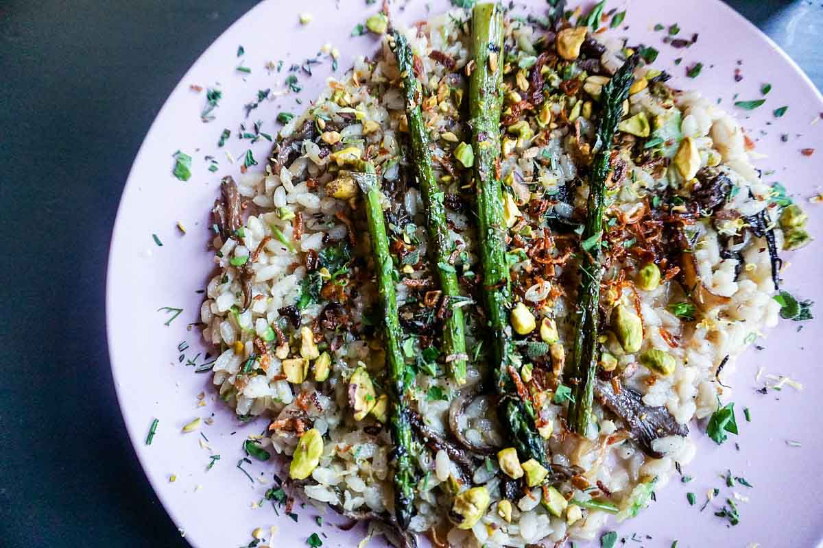 Mushroom + Asparagus Risotto at Ollie Food + Spirits in Ypsilanti, Michigan, USA #sponsored #YpsiReal #ErinInA2 #ErinInAnnArbor