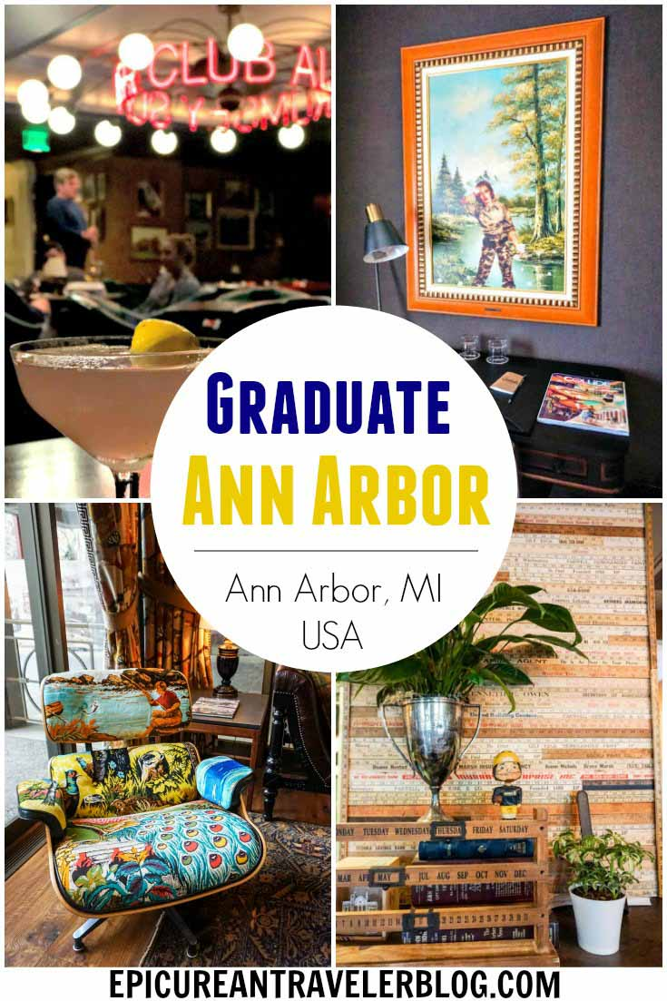 With decor inspired by its campus locale, Graduate Ann Arbor is steps from the University of Michigan campus in the heart of downtown Ann Arbor, Michigan, USA. A boutique hotel with a hip library vibe in its lobby, Graduate Ann Arbor is great for campus visits, football weekends, and getaways to this fun and quirky college town. #sponsored #ErinInA2 #ErinInAnnArbor #AnnArbor #DestinationAnnArbor