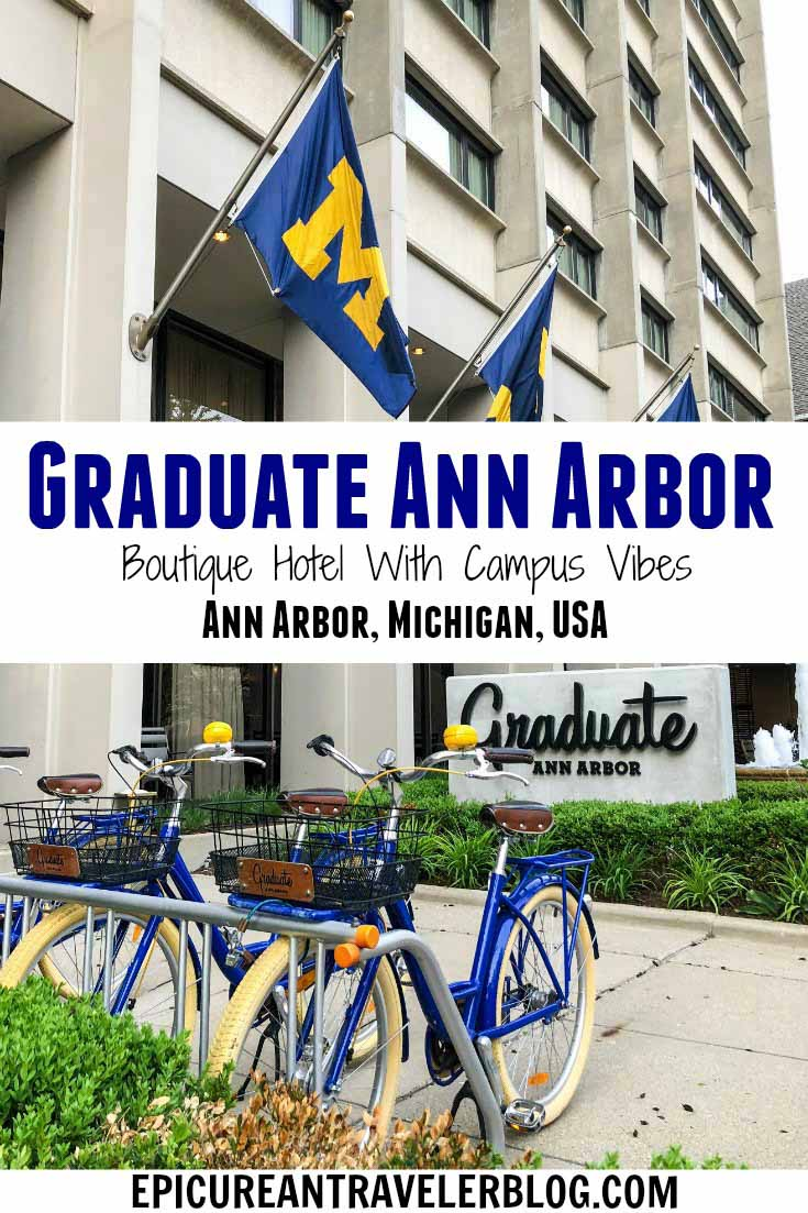 Located only steps from the University of Michigan campus, Graduate Ann Arbor is a boutique hotel with campus-inspired decor and a hip library vibe in its lobby. It's located near shopping, dining, and a plethora of on- and off-campus attractions in the heart of downtown Ann Arbor, Michigan, USA. #sponsored #ErinInA2 #ErinInAnnArbor #AnnArbor #DestinationAnnArbor