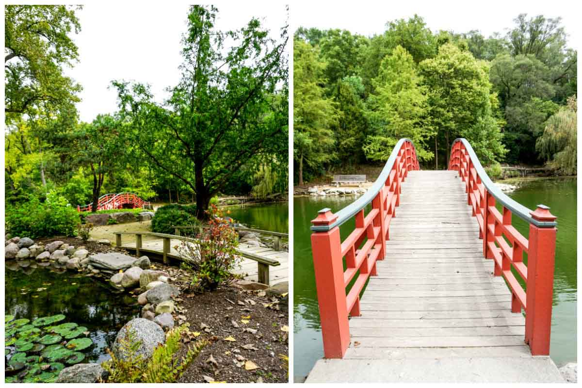 Japanese bridge and garden at Rotary Botanical Gardens in Janesville, Wisconsin, USA