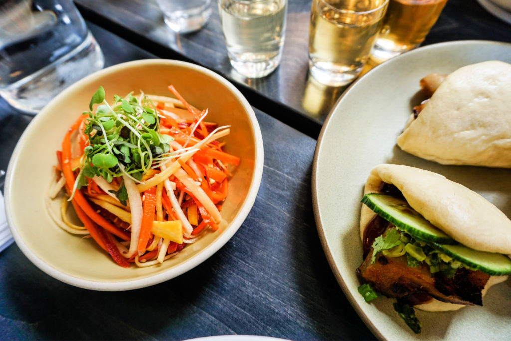 Steamed buns and carrot salad at Korean restaurant Miss Kim in Ann Arbor, Michigan, USA #sponsored #ErinInA2