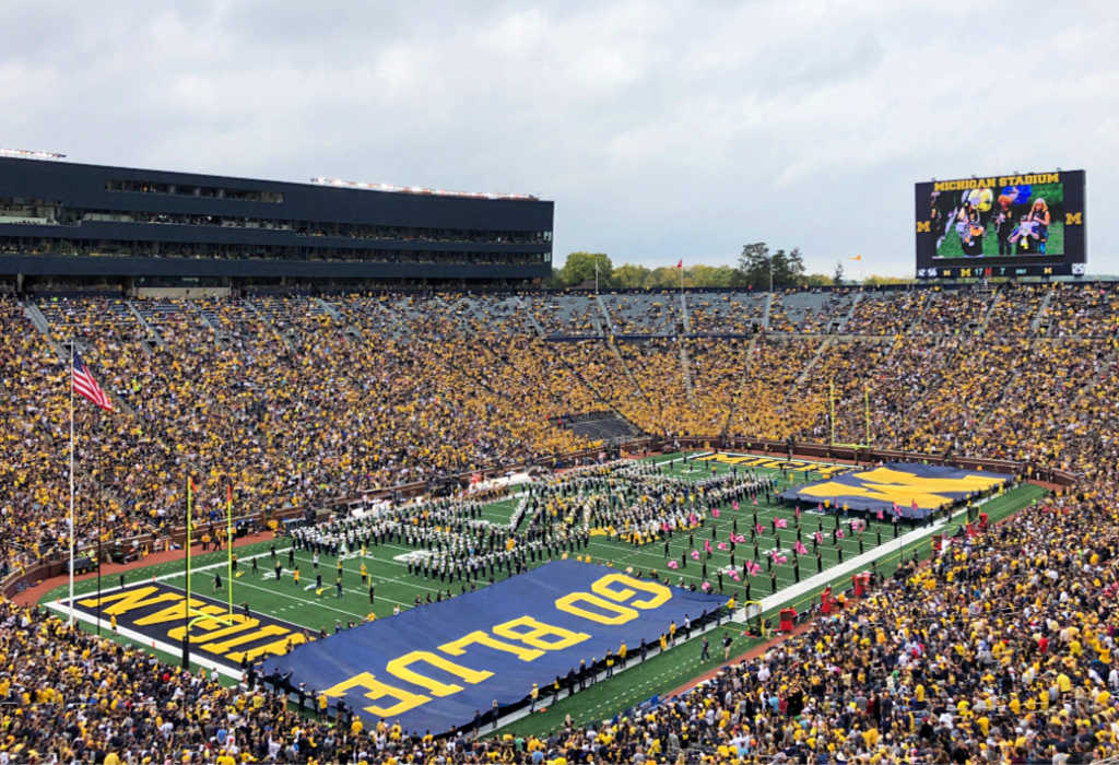At a Michigan football game, the Michigan Marching Band's half-time show is a major part of game day in Ann Arbor, Michigan, USA. #sponsored #ErinInAnnArbor #AnnArbor