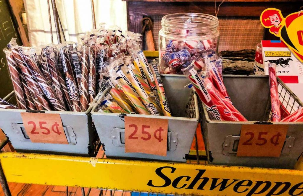 25-cent candy for sale at Brick and Mortar Modern General Store in Ypsilanti, Michigan, USA