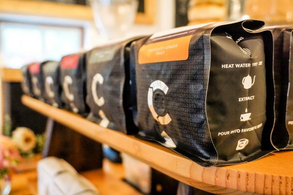 Coffee for sale at Cultivate Coffee & TapHouse in Ypsilanti, Michigan, USA