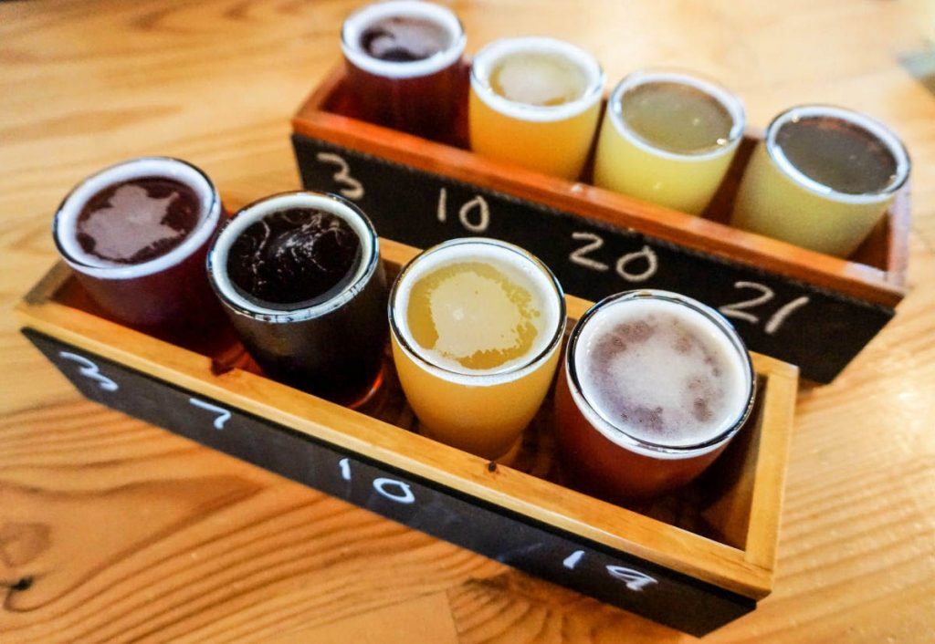 Beer flight at Cultivate Coffee & TapHouse in Ypsilanti, Michigan, USA
